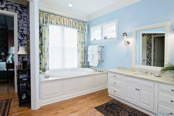 White cabinets in bathroom